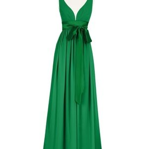 Emerald Bridemaid Floor length V-neck Dress